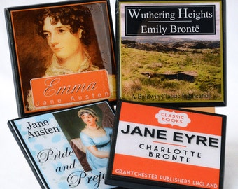 Classic Book Cover Coaster Set, Book Club Gifts for Readers, Literary Decor, Teacher Gift, Jane Austen Charlotte Bronte