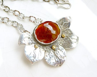 Fire Opal Lotus pendant - Rare AZ Fire Opal, .925 Sterling and 14k Gold with Chain, Flower necklace, Adjustable