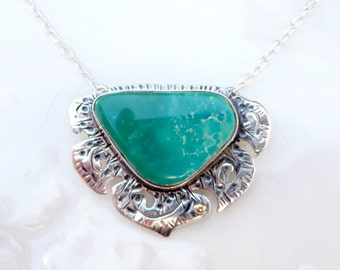 """Turquoise Alpinia Necklace - Rare Nevada """"Blue Gem"""" Turquoise pendant, .925 Sterling Silver, 14k Gold, Carnelian orange charm, gift, chain"""