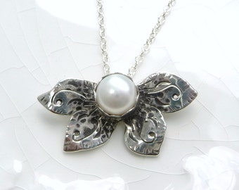 Classic Pearl Butterfly Necklace - Genuine White Pearl, .925 Sterling Silver Pendant, Charm, Gift, Wedding - One of a Kind