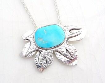 Funky Stapelia Necklace - Battle Mtn. Blue Gem Turquoise, Nevada, Sterling Silver, Rare Stone Flower Pendant