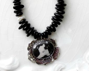 Black&White Jasper and Tourmaline Necklace -  Stone of Protection, Sterling Silver, Pearl - OOAK, Organic, Abstract, Contemporary Pendant