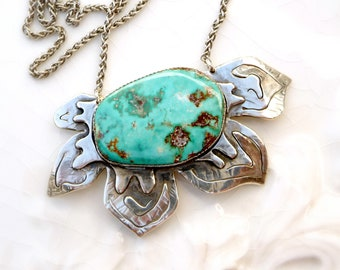 Blue Gem Poinsettia - Turquoise , Argentium Silver, Hand Crafted Layered Silver, One of a Kind Statement Necklace - Pendant