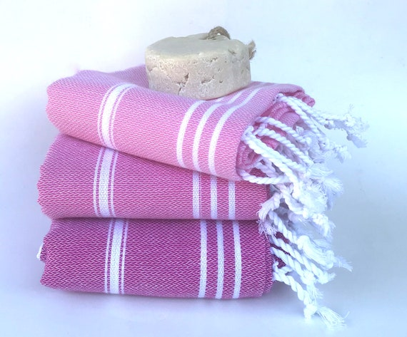 3 pink turkish towels, high quality cotton, kitchen towel, baby towel, tea  towel, baby blanket, lightweight, guest towel, quick dry