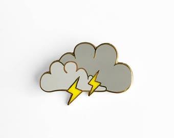 Lightning Cloud Enamel Pin - Sleepy Mountain Gold Pin