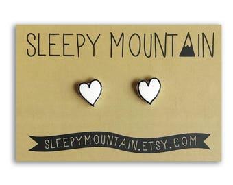 Heart Earrings - Heart Studs by Sleepy Mountain