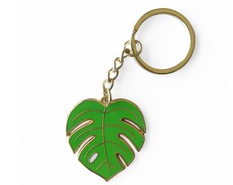 Monstera Leaf Enamel Keychain - Philodendron Nature Keyring