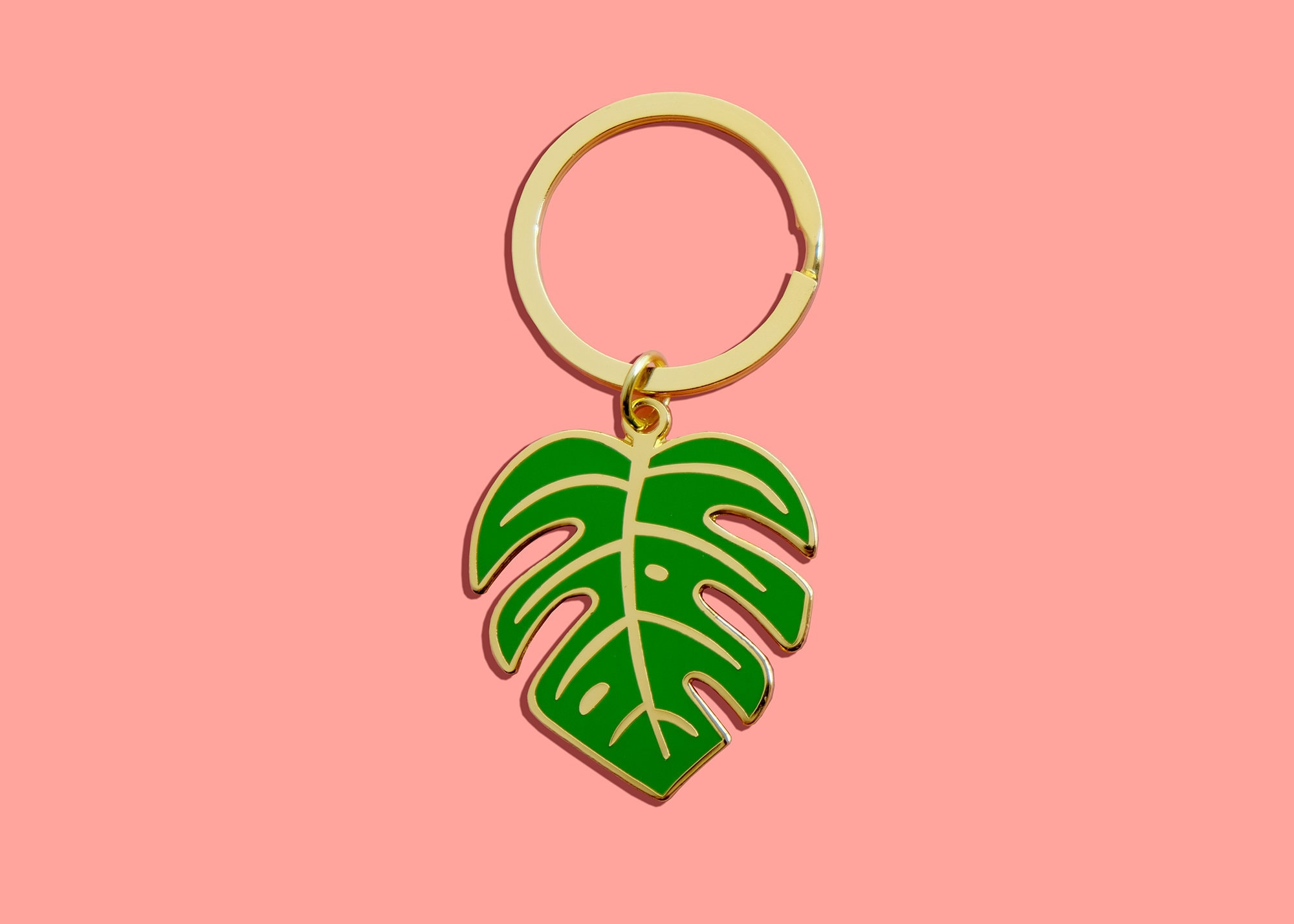 Monstera Leaf Enamel Keychain Philodendron Nature Keyring | Etsy