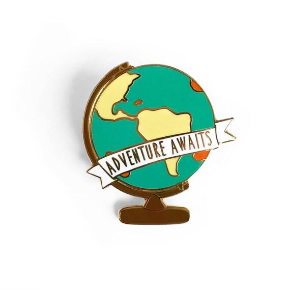 Adventure awaits globe enamel pin gold world map globe gumiabroncs Image collections
