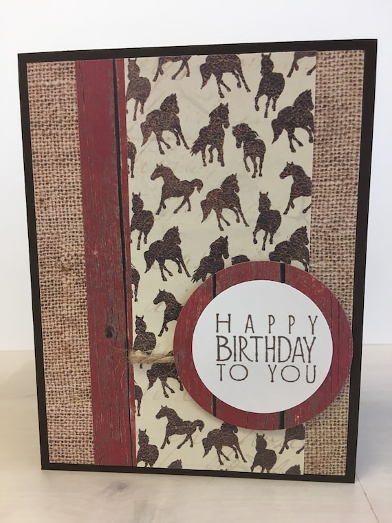 Horse Birthday Card Handmade Rustic Birthday Card Country Etsy