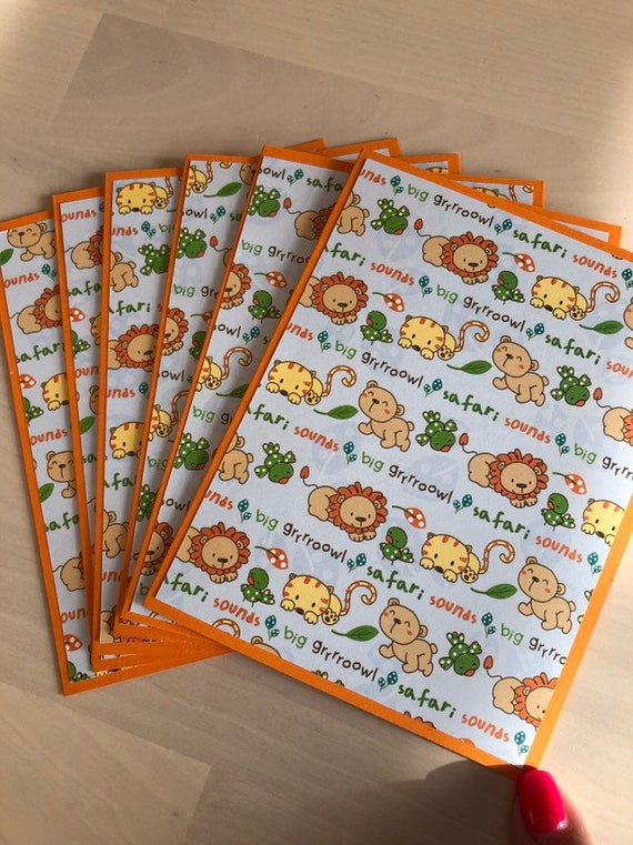 Tigers and Bears  Themed Note Cards Lions Handmade and Personalized