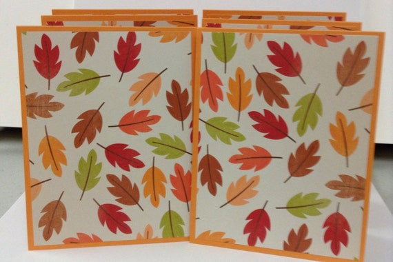 autumn notes fall cards leaves stationery nature etsy