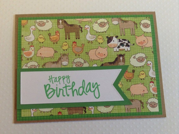 Farm Birthday Card Farm Card Kids Card Kids Birthday Card Etsy