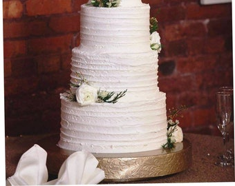 "16"" or 18"" ""Gold Floral Leaf"" Wedding Cake Stand / cake plateau"