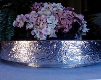 "16"" or 18"" ""Silver Floral Leaf"" Wedding Cake Stand, cake plateau, plate, riser"