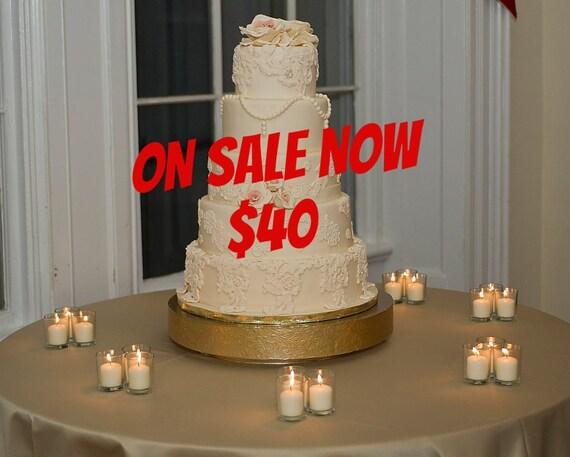 Sale Gold Cake Stand 16 Inch Gold Floral Leaf Etsy