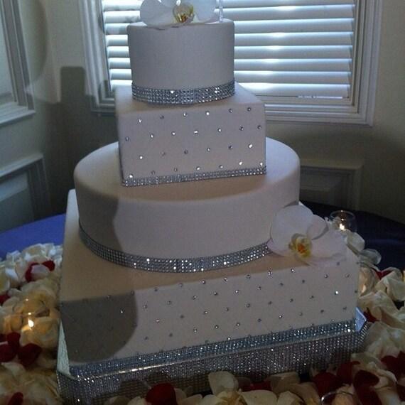Bling Wedding Cake Stand Square Dazzling Diamonds