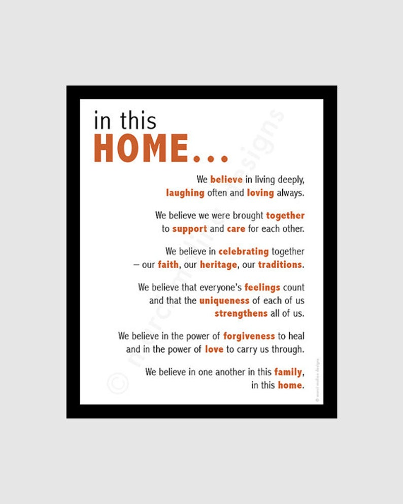family beliefs  printable digital DIY  home quote   8x10 image 1
