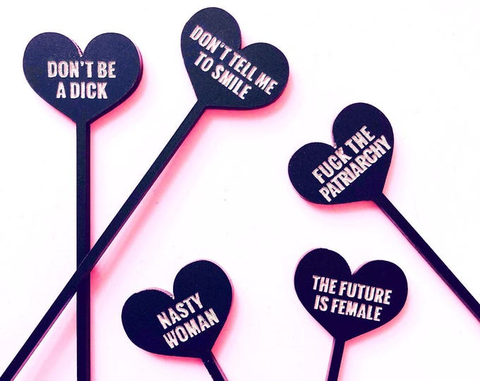 Feminist Conversation Hearts, 4 CT., Drink Stirrers, Stir Sticks,  Swizzle Sticks, Laser Cut, Engraved, Feminism, Girl Power, Woman Power