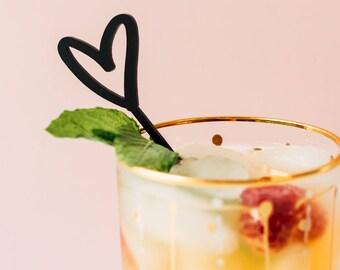 Open Hearts, 4 CT., Cocktail Swizzle Sticks, Stir Sticks, Drink Stirrers, Laser Cut, Acrylic, Valentine's Day, Bachelorette party