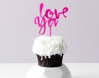 Love Ya, 1 CT., Mini Cake or Cupcake Topper, Laser Cut, Acrylic, Birthday Party, Celebrate, Job Promotion, Graduation,  Bridal Shower