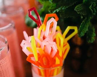 Geometric Cocktail Seizzle Sticks, Stir Sticks, Drink Stirrers Laser Cut, Acrylic, 6 Ct.