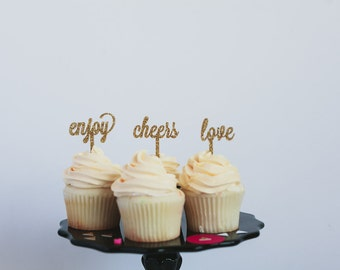 Cheers, Party, Enjoy, Love (sold individually) Cupcake Toppers, Laser Cut, Acrylic, 6 Ct.