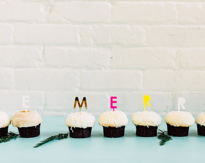 BE MERRY 7 pc. Cupcake Topper, Cake Topper, Laser Cut, Acrylic, Holiday and Christmas Cake Toppers