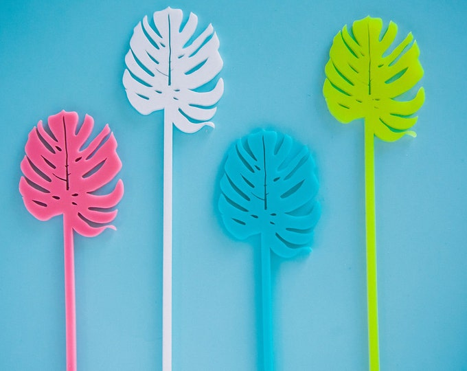 Monstera Palm Leaf Stir Sticks 4 CT. Drink Stirrers, Swizzle Sticks, Laser Cut