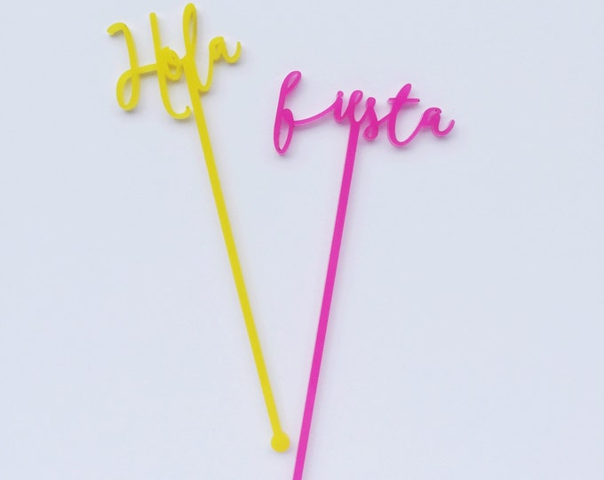 Hola, Fiesta, Salud, Celebrar, 4 CT. Swizzle Sticks, Stir Sticks, Drink Stirrers Laser Cut, Acrylic