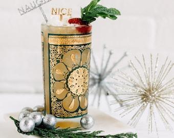 Naughty & Nice Stir Sticks 6 Ct., Drink Stirrers, Swizzle Sticks, Laser Cut, Acrylic