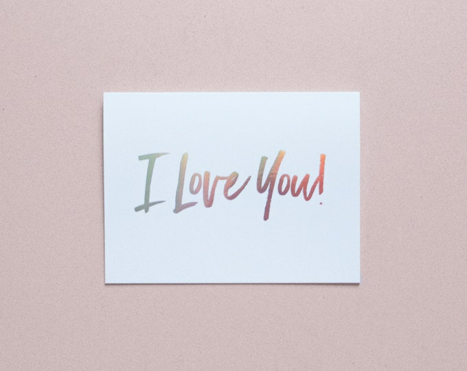 I LOVE YOU Holographic Foil Greeting Card with Envelope, 1 CT.