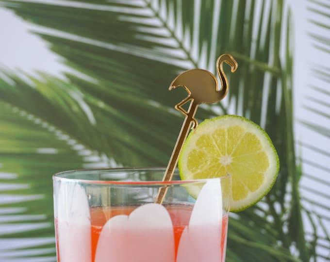 Flamingo Tropical Inspired Drink Stirrers, Swizzle Sticks, Stir Sticks, Laser Cut, Acrylic, 6 Ct., Cocktails