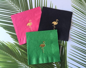 Flamingo cocktail Napkins,  Foil Stamped, 3 Ply, 20 CT.