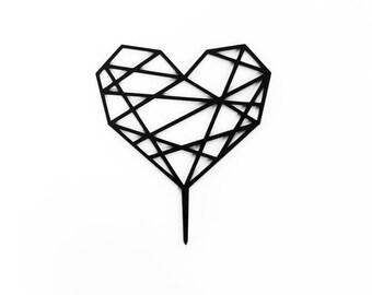 Geometric Heart Cake Topper. 1 CT.,  Laser Cut Cake Topper, Weddings, Modern Geometric Wedding
