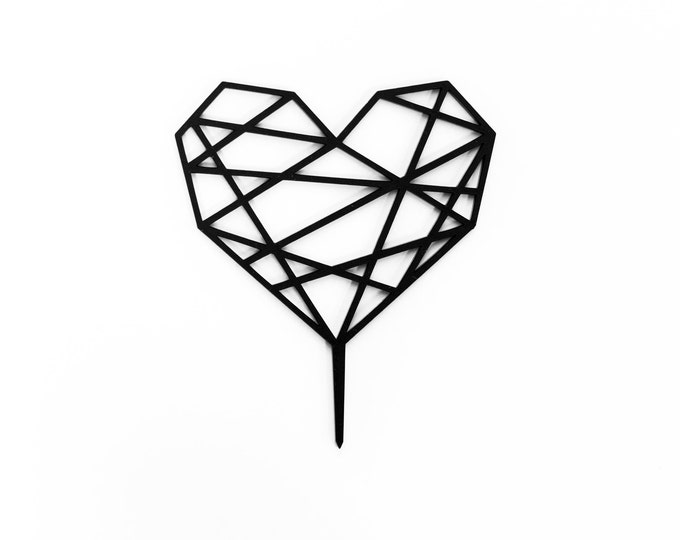 Geometric Heart Cake Topper. 1 CT.,  Laser Cut Cake Topper, Weddings, Modern Geometric Wedding