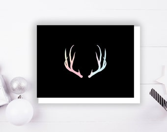 Deer Antler, Stag Antler Foil Stamped Holiday Greeting card with Envelope, 1 CT