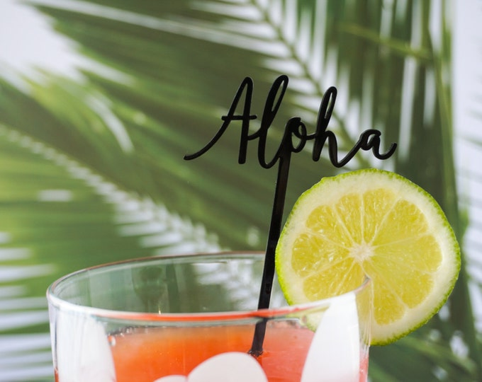Aloha Stir Sticks 4 CT., Tropical and Hawaiian Inspired, Drink Stirrers, Swizzle Sticks, Laser Cut, Acrylic