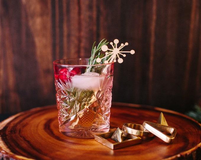 Mid Century Starburst Cocktail Stir Sticks, 6 CT., Swizzle Sticks, Drink Stirrers Laser Cut, Acrylic