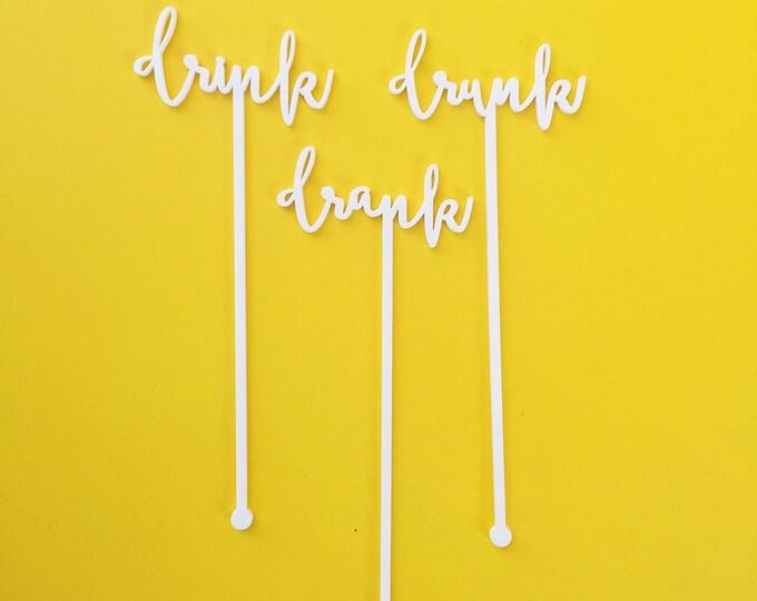 Drink Stirrers, Fun and Sassy Expression Stir Sticks, Drink, Drank, Drunk, Swizzle Sticks, Laser Cut, 6 CT.