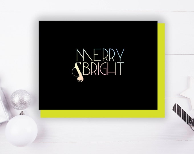 Merry & Bright Foil Stamped Holiday card with Envelope, 1 CT.