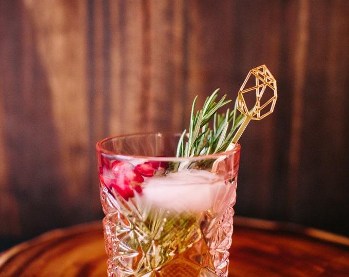 Bohemian Gem Drink Stirrers, 4 CT.  Swizzle Sticks, Stir Sticks, Laser Cut