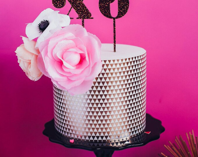 XO, Hugs and Kisses, Laser Cut Acrylic Cake and Cupcake Toppers