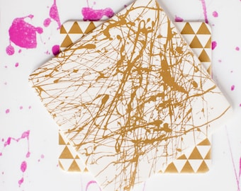 Modern Paint Splatter, Abstract, Paint Blot Coasters, 4 Ply, Cotton Blotting Paper, 4 inch, 10 CT.