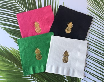 Pineapple Cocktail Napkins,  Foil Stamped, 3 Ply, 20 CT.