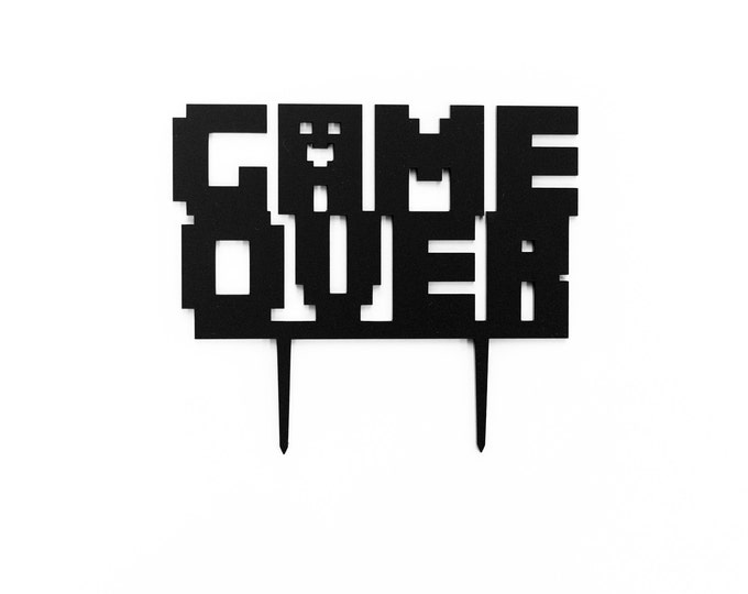 Game Over,  1 CT.,  Laser Cut Cake Topper, Weddings, Modern Wedding