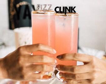 Pop, Fizz, Clink 6 CT., Drink Stirrers, Stir Sticks, Swizzle Sticks, Laser Cut, New Year's Eve, Party, Birthday, Celebration, Graduation