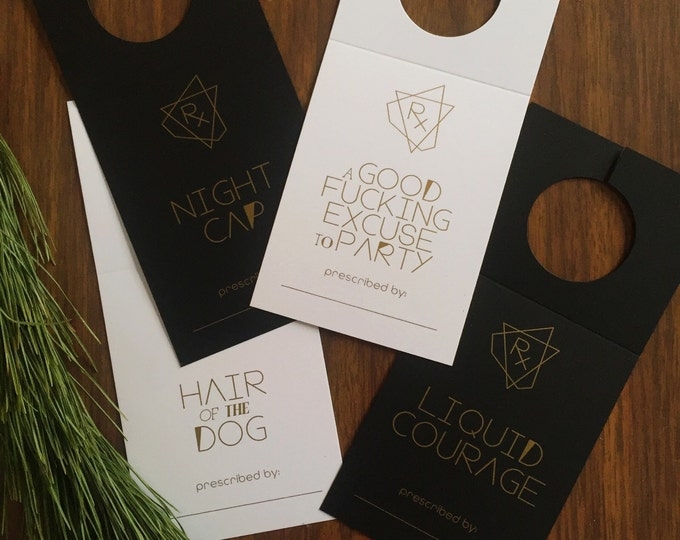 Cheeky Wine Gift Tags, Gold ink on Black and White Silk Card Stock, 8 Ct.