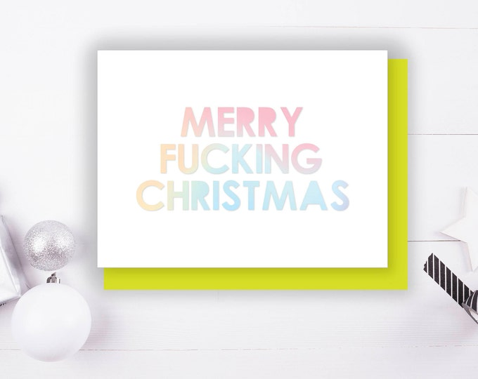 Merry F&cking Christmas Foil Stamped Christmas Greeting Card with Envelope, 1 CT.