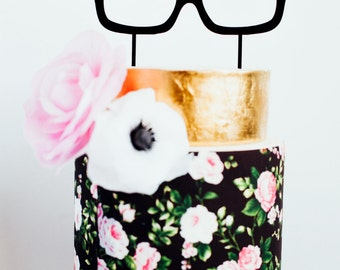 Hipster Glasses Wedding Cake Topper, Laser Cut, Acrylic